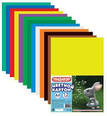 <b>Цветной картон Пифагор</b>, A4, 12 л., 12 цв. — купить по выгодной ...
