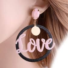 Online Shop NeeFu WoFu Love Letter Crystal Long <b>Earrings</b> Big ...
