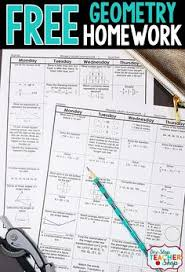 Free Math Homework for Geometry  This Geometry math homework is aligned with the common core Pinterest