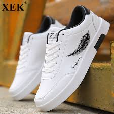 XEK 2018 <b>New</b> Spring <b>Summer</b> White Shoes <b>Men Running</b> Flat PU ...