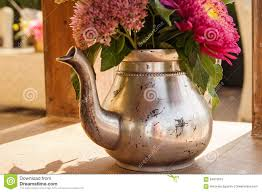 Bouquet Of <b>Flowers</b> In A <b>Metal Teapot</b> Stock Image - Image of ...