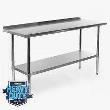 stainless kitchen work table: stainless steel kitchen restaurant work prep table with backsplash