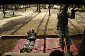 u s department of defense photo essay u s army recruits drop from the platform obstacle at the confidence course during basic combat training