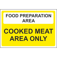 food preparation area cooked meat area colour coded safety signs food preparation area cooked meat area only colour coded sign