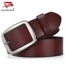 SWORDFISH <b>100</b>% <b>cowhide genuine</b> leather belt – vip cufflinks
