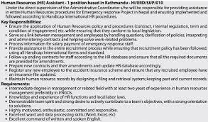 handicap international   hr   assistant   jobs in nepaljob description