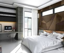 rugged materials and geometric patterns give these bedroom walls a cool industrial appeal industrial bedroom room bedroom ideas