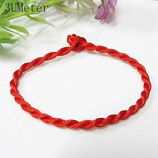 3UMeter Fashion Black Red Bracelet <b>Hand knitted</b> Simple Red ...