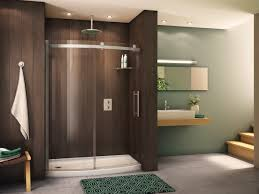 bathroom alluring design ideas of shower with curved shape glass sliding door and brown wooden wall alluring wall sliding doors