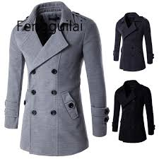 2019 <b>FENGGUILAI</b> 2019 New Fashion Men Wool Coat Winter Mid ...