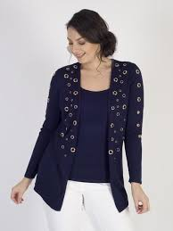<b>Passioni</b> Navy Knit <b>Twinset</b> with Gold Eyelets – Chesca