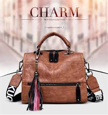 Brand Vintage <b>Real Leather Tassel</b> Luxury Handbag <b>Women</b> Bags ...
