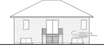 House plan W  V detail from DrummondHousePlans com    rear elevation Modern split level house plan  large kitchen island  open floor plan