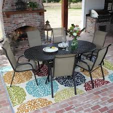 patio table and 6 chairs: madison bay  person sling patio dining set with stacking chairs and cast aluminum table