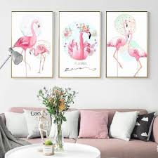 SURE LIFE Pink Flamingo Animals Flower <b>Love Poster Canvas</b> ...