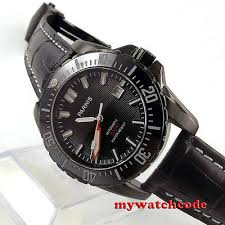 <b>44mm Parnis black dial</b> Ceramic bezel 200m atm automatic mens ...