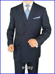 DTI GV Executive Italian Mens Suit Set <b>2 Piece Double</b> Breasted ...