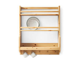 appealing ikea varde:  kitchen cute solid pine ikea kitchen wall shelf with plates and pegs for mugs photo of