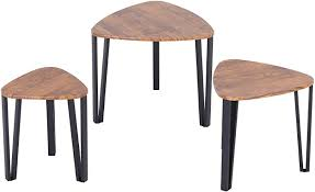 HOMCOM <b>3 PCs</b> MDF Steel Nesting Table <b>Coffee Table</b> Set ...