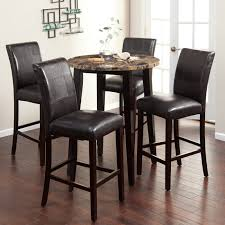 table for kitchen: dining perfect pup table set design with feature brown granite small round counter height bar table and espresso black upholstery leather dining armless chairs on mahogany laminate hardwood flooring