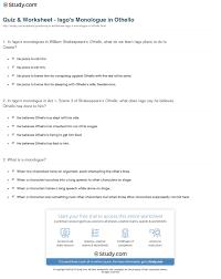 quiz worksheet iago s monologue in othello study com print iago s monologues in othello analysis worksheet