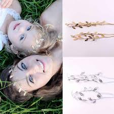 <b>2Pcs</b>/<b>Set</b> Mom <b>Baby</b> Girls Gold Silver Bronzing Leaf <b>Headband</b> Set ...
