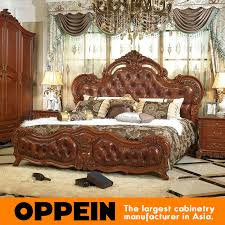 luxury and traditional solid wood bed with brown leather bedroom furniture from china furniture factory ob 0314047 brown leather bedroom furniture