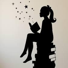 <b>Girl Reading</b> Books Magic <b>Vinyl</b> Wall Decal