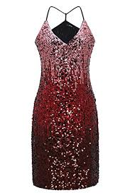 Metme <b>Women Sexy V Neck</b> Gradient <b>Sequin</b> Dress <b>Sparkly Glitter</b> ...