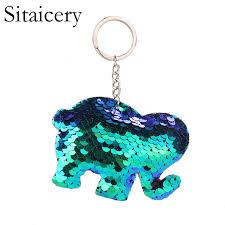 <b>Sitaicery</b> Sequins Elephant Cute Keychain Bag Charm Pom Pom ...