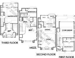Urban Townhome Floor Plans  Town House Development  Row House    Townhome Plan D L