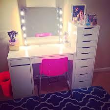 my vanity setup using mostly ikea items kolja mirror musik lights diy corded micke desk alex drawers love this but want in black chic ikea micke desk white