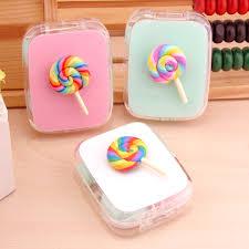 <b>LIUSVENTINA DIY cute Rainbow</b> paisley lollipop contact lens case ...