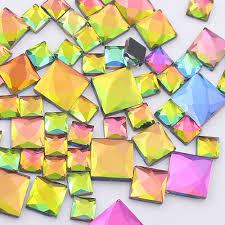 <b>130pcs</b> Rainbow Color Rhinestones Square Shape <b>Glue</b> Back ...