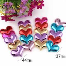 <b>50Pcs</b> Mixed Multi Color Heart Shaped <b>Wood</b> Buttons <b>2 Holes</b> ...