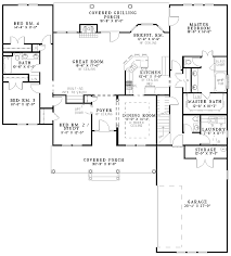 Cedar Shake Split Bedroom House Plan   ND   st Floor Master    Floor Plan