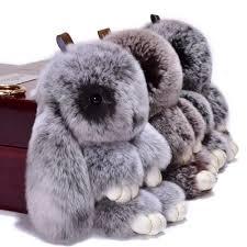 <b>15cm Rabbit Keychain</b> Rex <b>Bunny</b> Real <b>Fur</b> Pompom Fluffy <b>Key</b> ...