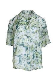 <b>Blouse</b> flower,<b>floral print</b>, may green-white – Liz Malraux Couture