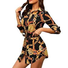 Goddessvan <b>2019 Hot Women</b> Chain Print Shirt Dress <b>Casual</b> Long ...