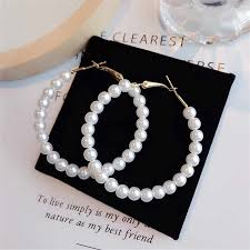 2019 new <b>Trendy Elegant Created Big</b> Simulated Pearl Earrings ...
