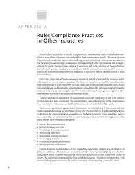 appendix a rules compliance practices in other industries page 72