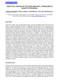 (PDF) Practical means of solving mud <b>ball</b> problems in <b>sand filter</b> ...