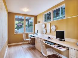 interior secretary desk and narrow but long wooden table top mixed yellow wall color also best wall color for office