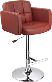 Bar Stool Swivel <b>Barstool Wine Red</b> with Backrest and Armrest ...