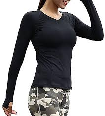Azornic Womens/Ladies Sports Gym <b>Yoga Tops</b> Quick-Dry <b>Long</b> ...