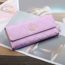 <b>Women's</b> long <b>fold</b> wallet <b>Korean fashion</b> leather buckle crown purse ...