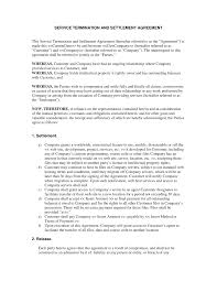 service termination and settlement agreement notification of service termination and settlement agreement
