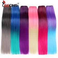 "<b>Leeons</b> 22"" 55Cm 5 Clips Straight Grey Blue <b>Purple Pink</b> Ombre ..."