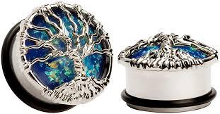 KUBOOZ Blue Planet Silvery Tree Ear Plugs Tunnels ... - Amazon.com