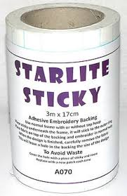 Starlite Sticky <b>Self Adhesive Embroidery</b> Backing Stabiliser various ...